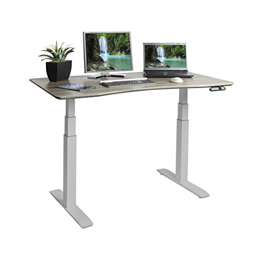 "Seville Classics AIRLIFT S3 Electric Standing Desk with 54"" Top, Dual Motors, 4 Memory Buttons, LED Height Display (Max. 51.4"" H), 3-Section Base, Gray/Ashwood"
