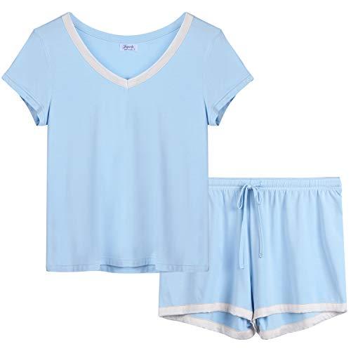 Joyaria Womens Bamboo Pajama Sets V Neck Short Sleeve Pj with Shorts & Pants(Light Blue,Medium)