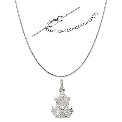 Sterling Silver Mariners Cross Charm on a 0.80mm Snake Chain Necklace, 18