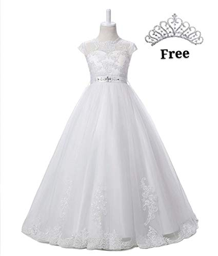 Magicdress White First Communion Baptism Dresses for Girls 7-16 Lace Princess Flower Girls Gown 10 (Gown Flower Dress Girl)