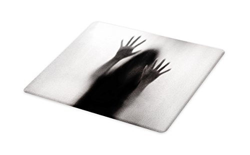 Lunarable Horror House Cutting Board, Silhouette of Woman behind the Veil Scared to Death Obscured Paranormal Photo Print, Decorative Tempered Glass Cutting and Serving Board, Large Size, Gray by Lunarable
