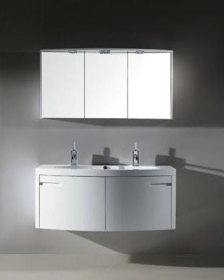 Mobiletti E Specchiere Bagno.Mobile Arredo Bagno 120cm Sospeso Moderno Bianco Con Doppio