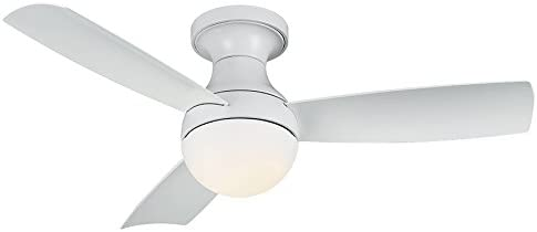 Aloft Indoor Outdoor 3-Blade Smart Flush Mount Ceiling Fan 44in Matte White with 3500K LED Light Kit and Wall Control works with iOS Android, Alexa, Google Assistant, Samsung SmartThings, and Ecobee