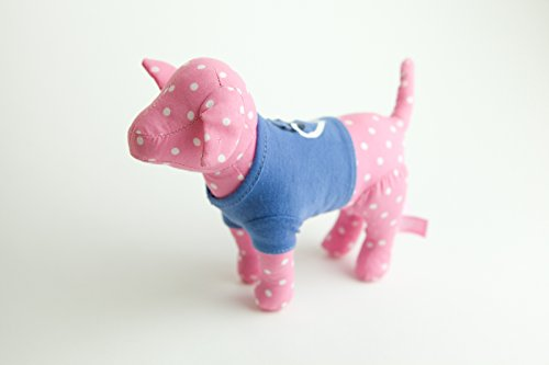 Peace Sign Teddy Bear - Victoria Secret Pink polka dot dog wearing a blue shirt with a heart and peace sign on it