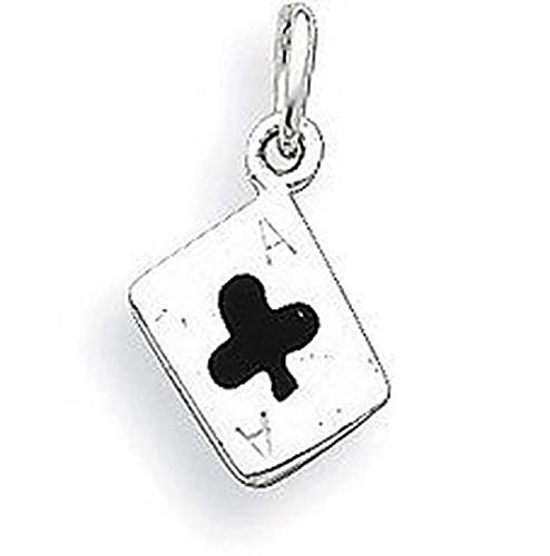 Silver Enameled Ace of Clubs Card Charm Vintage Crafting Pendant Jewelry Making Supplies - DIY for Necklace Bracelet Accessories by ()