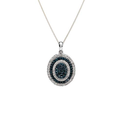 Setting Oval Cluster Pendant - Jewelspaark 1.48 Carat Sterling Silver Natural White and Color Enhanced Blue Diamond Oval Cluster Pendant Necklace Women