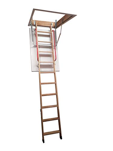 Deluxe Wooden Loft Ladder with Twin Handrails - Frame 1100 x 545mm - Floor...