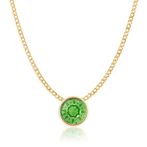- Ed Heart Small Pendant Necklace with Green Peridot Round Crystals from Swarovski Gold Plated