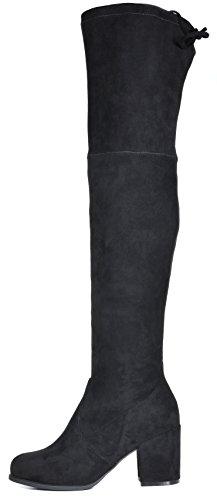 TOETOS Frauen Prade-High Overknee-Blockabsatz Stiefel Schwarz