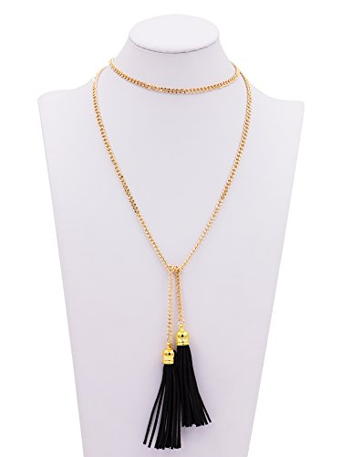 Geerier Simple Gold Chain Long Necklace Punk Gothic Tassel Black Leather For Women