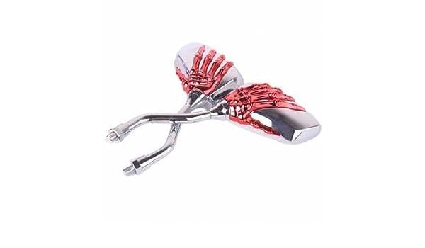 Modificado motocicleta Espejo Retrovisor Esqueleto Manos Rojo: Amazon.es: Coche y moto