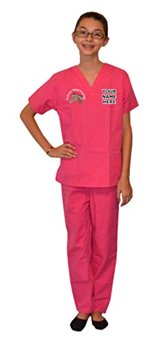 - My Little Doc Personalized Pink Kids Veterinarian Scrubs Horse Embroidery Design Size 2