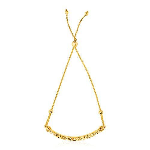 ntine Chain Bar Lariat Style Bracelet (14k Yellow Gold Byzantine Chain)