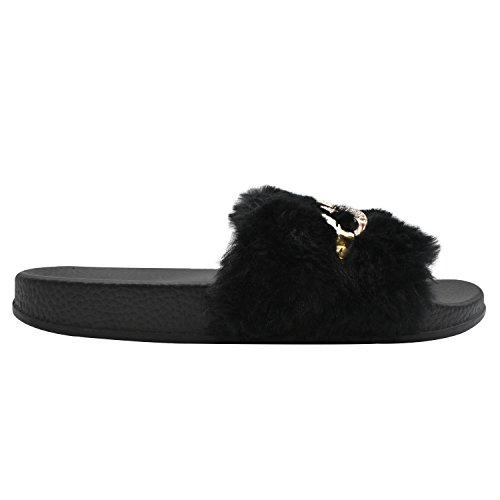 Dolce Outdoor Pantofole Indoor Colori Sandali Piatte in Peluche 5 Nero Molle Soffici Donna COFACE con Pantofola da Diamant 8qdwxPP4