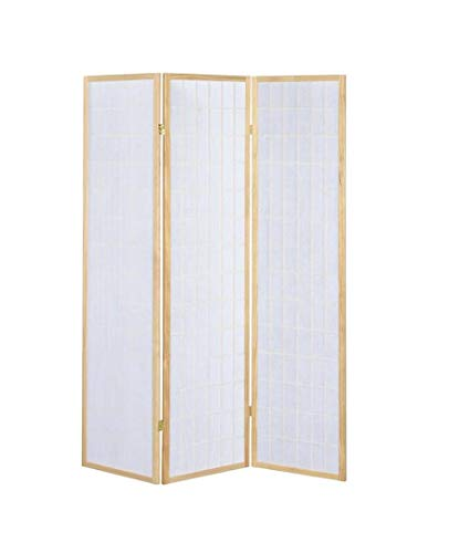 3-Panel Folding Screen Natural and White (Folding Decorative Screens)