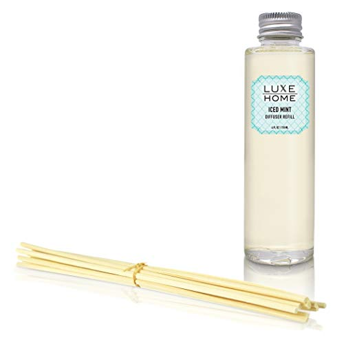 Luxe Home Iced Mint Reed Diffuser Refill Oil with Sticks | Cool, Lively Peppermint & Vanilla Home Fragrance Oil | Replacement Aromatherapy Oil for Room Diffuser - Grapefruit Home Fragrance Diffuser
