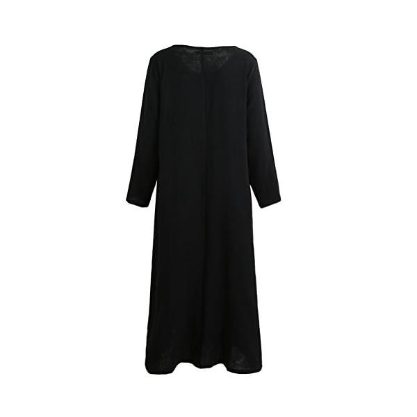 Romacci Women's Casual Loose Maxi Long Dress Vintage Long Sleeve Cotton Dress