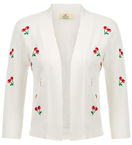 Three Quarter Sleeve Sweaters Embroidered Coats (XXL,Ivory)