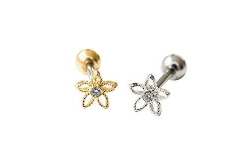 ilage Tragus Snowflake Cute Daisy Jasmine Flower Ear Studs Piercing Earring(silver) (Tragus Earring)