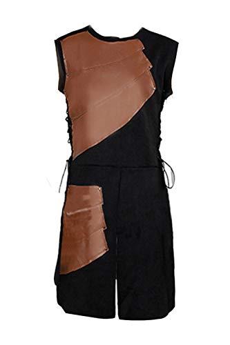Mens Medieval Victorian Waistcoat Vest Renaissance Warrior Waistcoat Sleeveless Vests Brown -