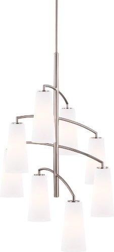 Feiss F2950/8BS Coddington Glass Chandelier Lighting, 8-Light, 600watts, Brushed Steel (5