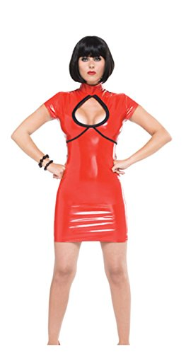 Darque Red Wet Look Dress Large