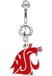 Washington State Cougars Belly Navel Ring in Color Logo, Stainless Steel and Sterling Silver