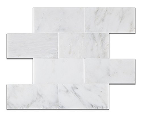 (Oriental White - Eastern White Marble 3 X 6 HONED Subway - Brick Field Tile - Box of 5 sq. ft. by Oracle Tile &)