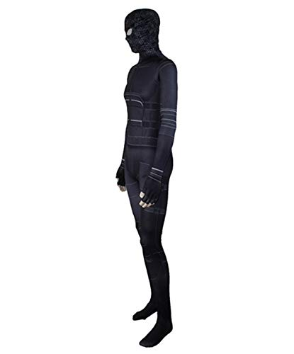 COSEASY Adult and Child Spider Verse Far from Home Zentai Jumpsuit Bodysuit Stealth Black Battle Suit Tights Costume (Kid M/fit for Height 125-135cm, Style 2)]()