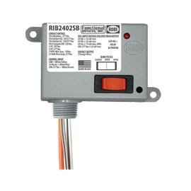 Enclosed Relay - Functional Devices (RIB) RIB2402SB Enclosed Relay 20Amp SPST-NO + Override 24Vac/dc/208-277Vac