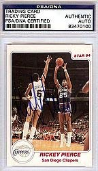 Ricky Pierce Signed 1984 Star Rookie Card #130 - PSA/DNA Authentication - NBA Basketball Trading Cards from Sports Collectibles Online