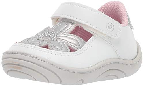 Stride Rite Daisy Girl's Flower T-Strap Sneaker, white, 5.5 M US Toddler