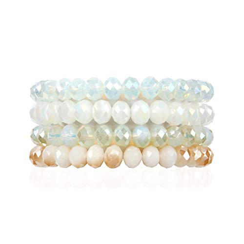 (RIAH FASHION Multilayer Beaded Stretch Stacking Bracelets - Multi Strand Colorful Sparkly Beads Statement Wrap Slip-on Cuff Bangles (Sparkly Mix - Natural Ivory))