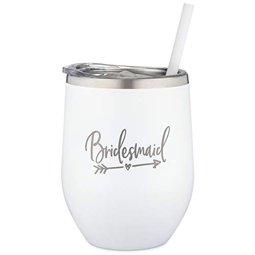 Bridesmaid Tumbler - 12 Ounce Engraved Stainless Steel Wine Tumbler with Lid with Straw | Bridesmaid Proposal | Will You Be My Bridesmaid | Bridal Party