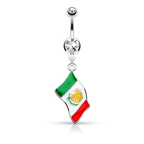 Mexican Flag Dangle Belly Button Ring - 14G (1.6mm) - Sold Individually (Belly Button Ring Display compare prices)