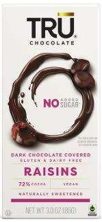 TRU Chocolate 72% Dark Chocolate Covered Raisins - Gluten Free, NON-GMO, Vegan, Dairy Free, Kosher, All Natural, No Added Sugar, 3oz