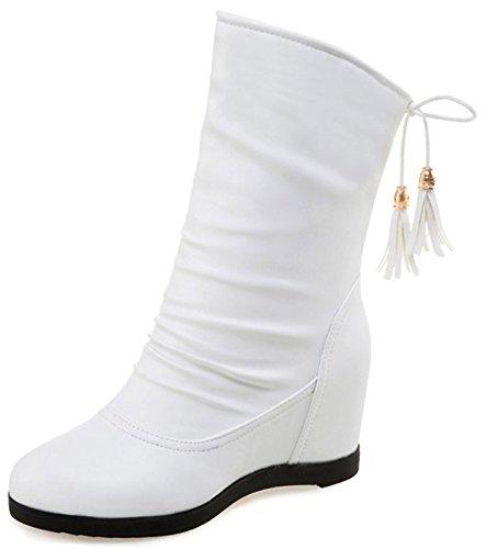 Idifu Mujeres Dressy Mid Wedge - Tacones Ocultos - Interior Con Puntera Redonda, Botines De Media Pantorrilla, Blancos