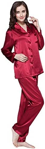 LilySilk Silk Pajamas for Women Comfy Two Piece Set Long Sleeve 16 Momme Real Mulberry Silk Sleepwear Ladies