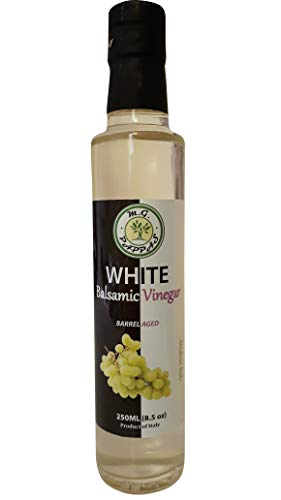 (M.G. PAPPAS White Balsamic Vinegar of Modena Barrel Aged Sweet Gourmet 10 Year Old Aceto Balsamico Italian Pure Authentic No Preservatives No Colorants No Caramel No Added Flavors 8.5 Fl)