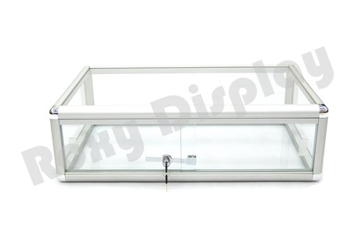 ROXYDISPLAY™ Countertop Glass Display Showcase Standard 30 inches Aluminum Frame with Front Lock(KDFLAT-SC)