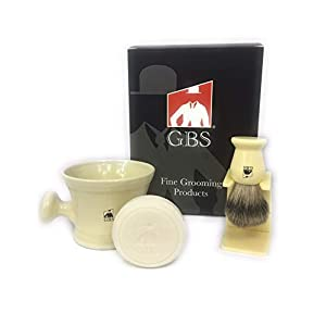 GBS Premium Men's Grooming Wet Shaving Set - Ceramic Ivory Shaving Soap Mug Bowl Knob Handle, Pure Badger Bristle Hair Shave Brush + Stand Holder, Natural Shave Soap & Gift Box Compliments Any Razor.