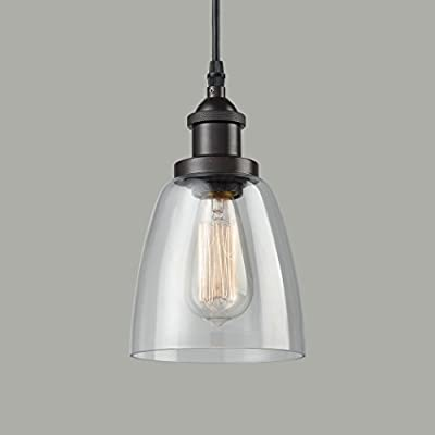 CLAXY Ecopower Industrial Mini Glass Pendant Oil-rubbed Bronze Hanging Light Fixture