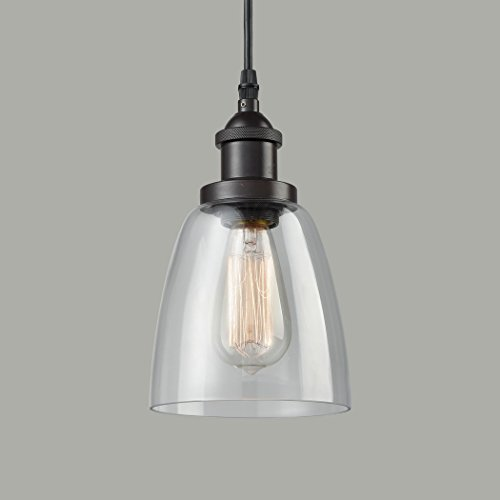 Mini Pendant Fire Glass Shade (CLAXY Ecopower Industrial Mini Glass Pendant Oil-rubbed Bronze Hanging Light Fixture)