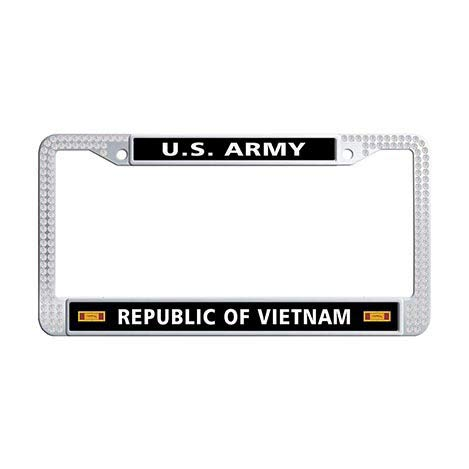 (Makoncase US Army Republic of Vietnam Gallantry Cross Unit Citation Ribbon License Plate Frame Holder,White Rhinestones Car Plate Cover Frame)