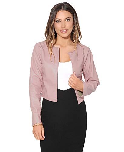 Krisp Women PU Leather Cropped Jacket Long Sleeve Bolero[4432-PNK-L] Pink ()