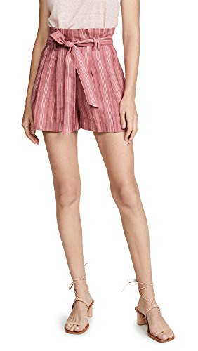 Rebecca Taylor Women's Striped Shorts with Pockets and Belt, Desert Rose, ()