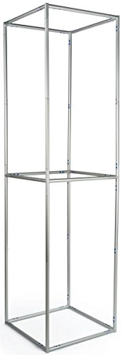 Displays2go Pop-up Tower with 4 Sides, Aluminum, Floor Standing – Silver Finish (TDSH3DSQ10) by Displays2go