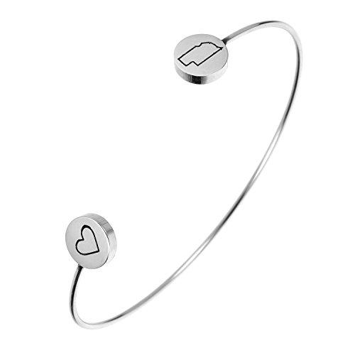 State Bangle Bracelet Nebraska NE - Open Wire Cuff Stainless Steel (Wire Cuff)