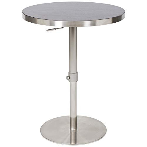 Mix Brushed Stainless Steel Round Wood Laminate Espresso Adjustable Height Swivel Bar Table with Pin Lock and Round Flat Slab Base