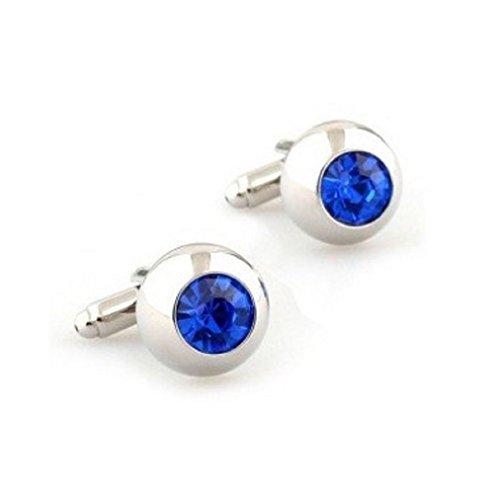 Cufflinks Round Crystal (MRCUFF Blue Crystal Round Pair Cufflinks in a Presentation Gift Box & Polishing Cloth)